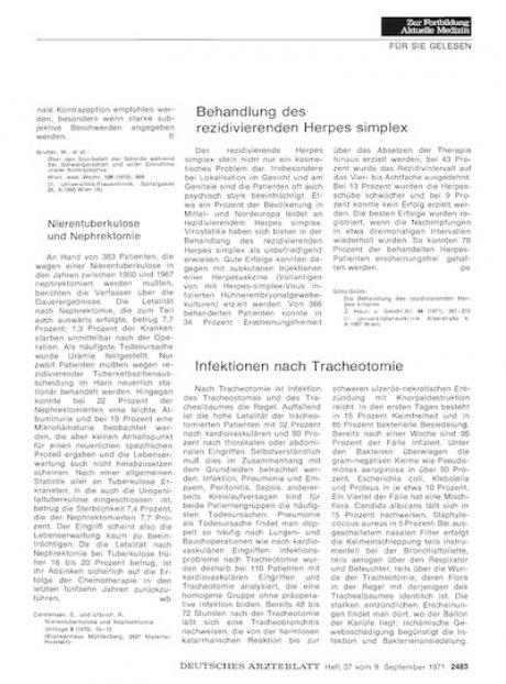 Infektionen nach Tracheotomie