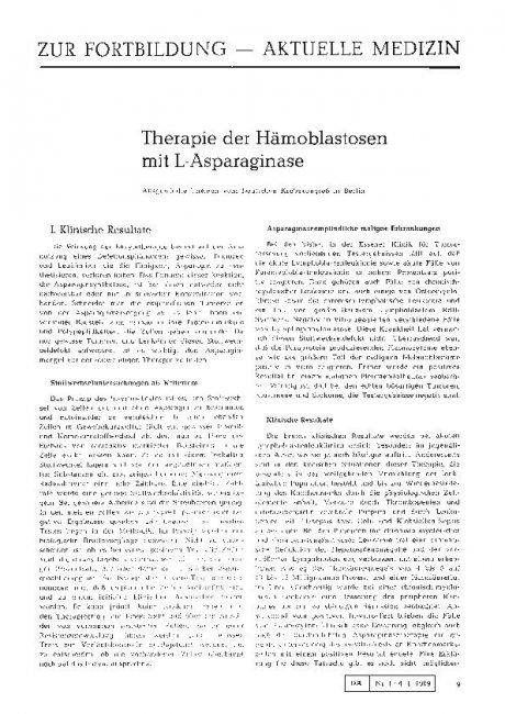 Therapie der Hämoblastosen mit L-Asparaginase