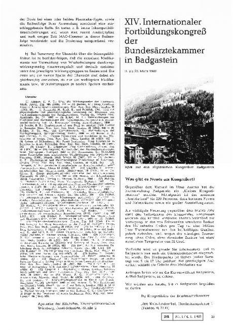 XIV. Internationaler Fortbildungskongreß der Bundesärztekammer in Badgastein
