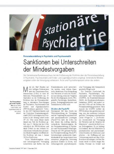 Personalausstattung in Psychiatrie und Psychosomatik: Sanktionen bei Unterschreiten der Mindestvorgaben