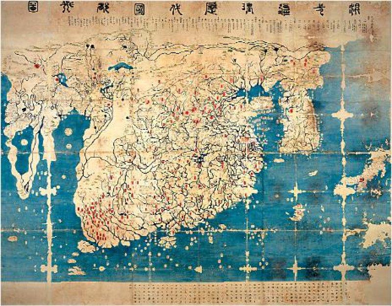 Karte der Entfernungen sowie der historischen Hauptstädte, Yi- Dynastie 1402, Tusche und Farben auf Papier, 280 cm x 220 cm Fotos: Kunst- und Ausstellungshalle der Bundesrepublik Deutschland