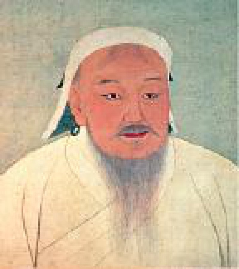 Porträt des Kaisers Taizu (Dschingis Khan), Yuan-Dynastie, 14. Jh., Tusche und Farben auf Seide, 116 cm x 74 cm (Ausschnitt)