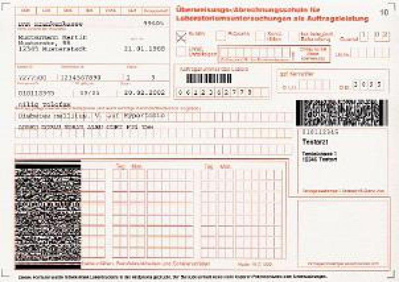 Überweisungs-/Abrechnungsschein mit integriertem 2d-Barcode