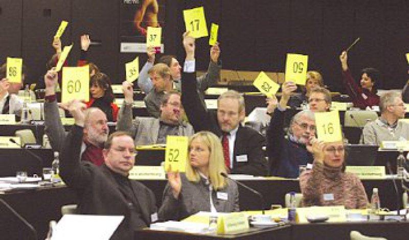 Die Delegierten verabschiedeten die (Muster-)Berufsordnung mit großer Mehrheit. Foto: Jörg Hermann