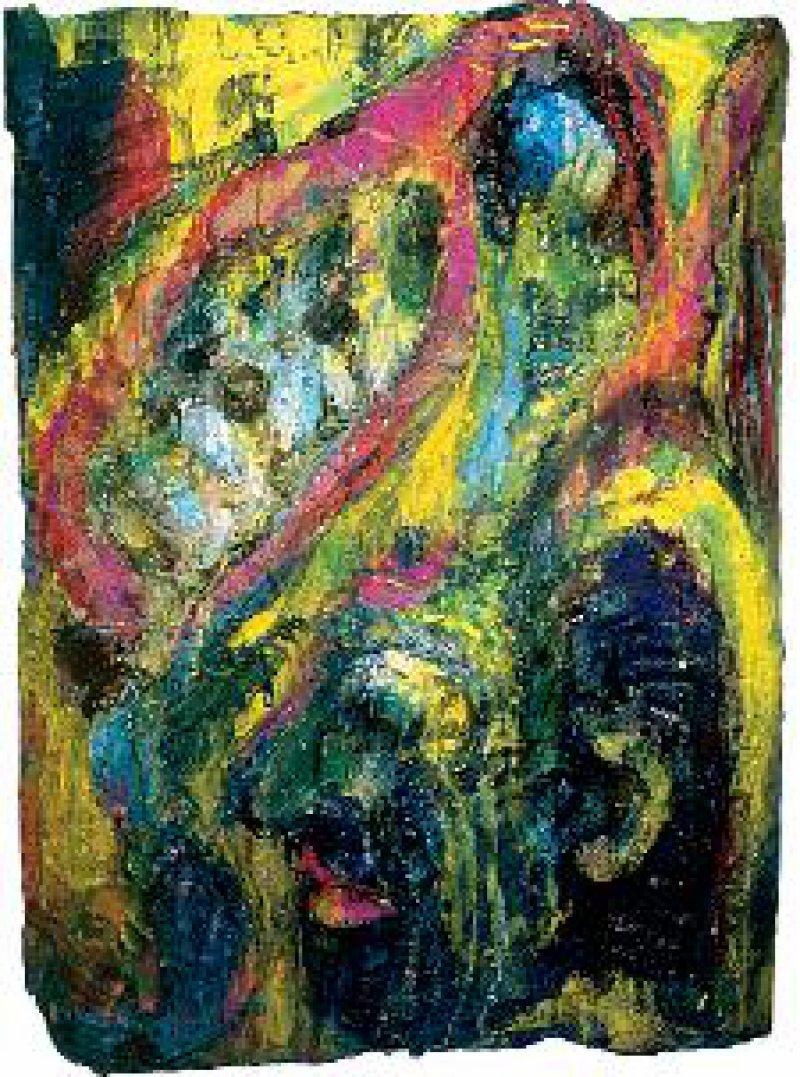 Abbildung B: Antonius Höckelmann (1937–2000): Versuchung des Antonius (1999/2000), Holzrelief, farbig gefasst, 80 cm x 60 cm x 12,5 cm Foto: Sammlung Kraft / VG Bild-Kunst, Bonn 2006