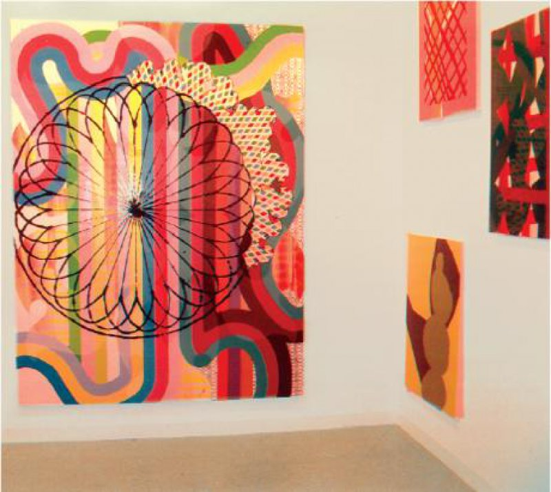 """Christine Streuli: """"Feuerrad"""", 2006, Lack auf Baumwolle, 240 x 190 cm Foto: Gerda Jaeschke"""