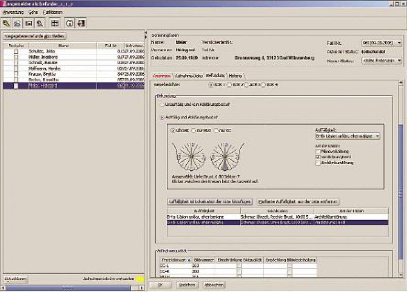 Bildschirmansicht der Mammographie-Screening-Software (MaSc): Das richtlinienkonforme Programm unterstützt sämtliche Prozesse und Abläufe beim Screening.
