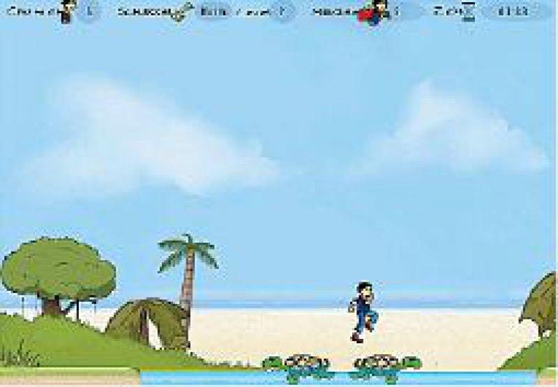 Spielebene 2: Sprung von Schildkröte zu Schildkröte, um ans andere Ufer zu gelangen.