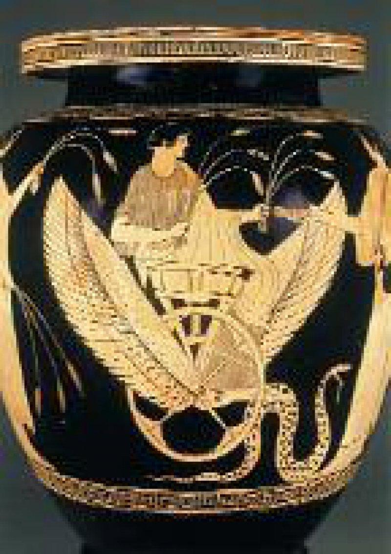 Kessel aus Ton, Triptolemos auf einem mit Schlangen gezogenen Flügel-Wagen, um 470 v. Chr., Los Angeles, J. Paul Getty Museum