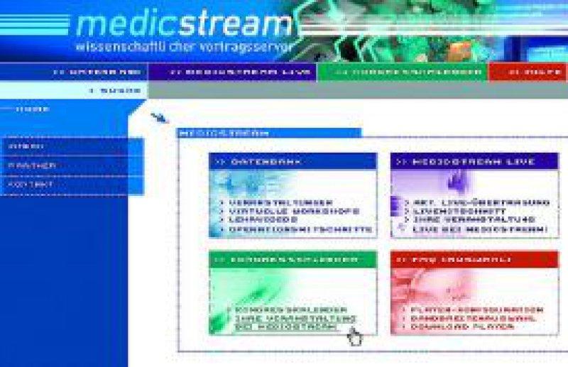 Ausschnitt der Website unter www.medicstream.de