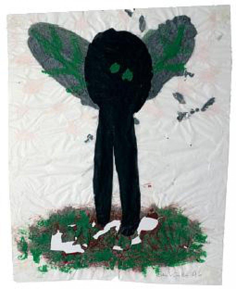 Ohne Titel (1996), Mischtechnik auf Seidenpapier, 49 cm x 37 cm
