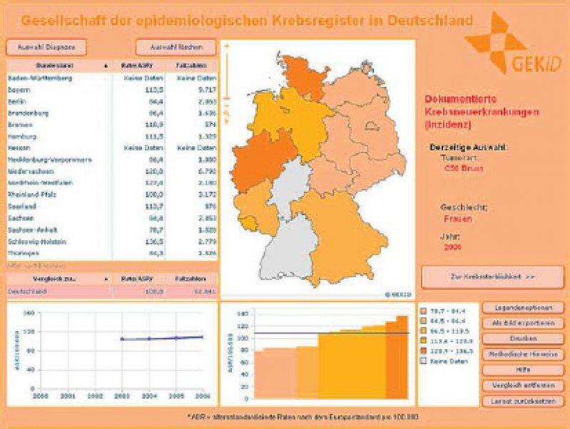 Brustkrebs in Deutschland im Jahr 2006 (Ansicht aus dem Online-Krebsatlas der GEKID)