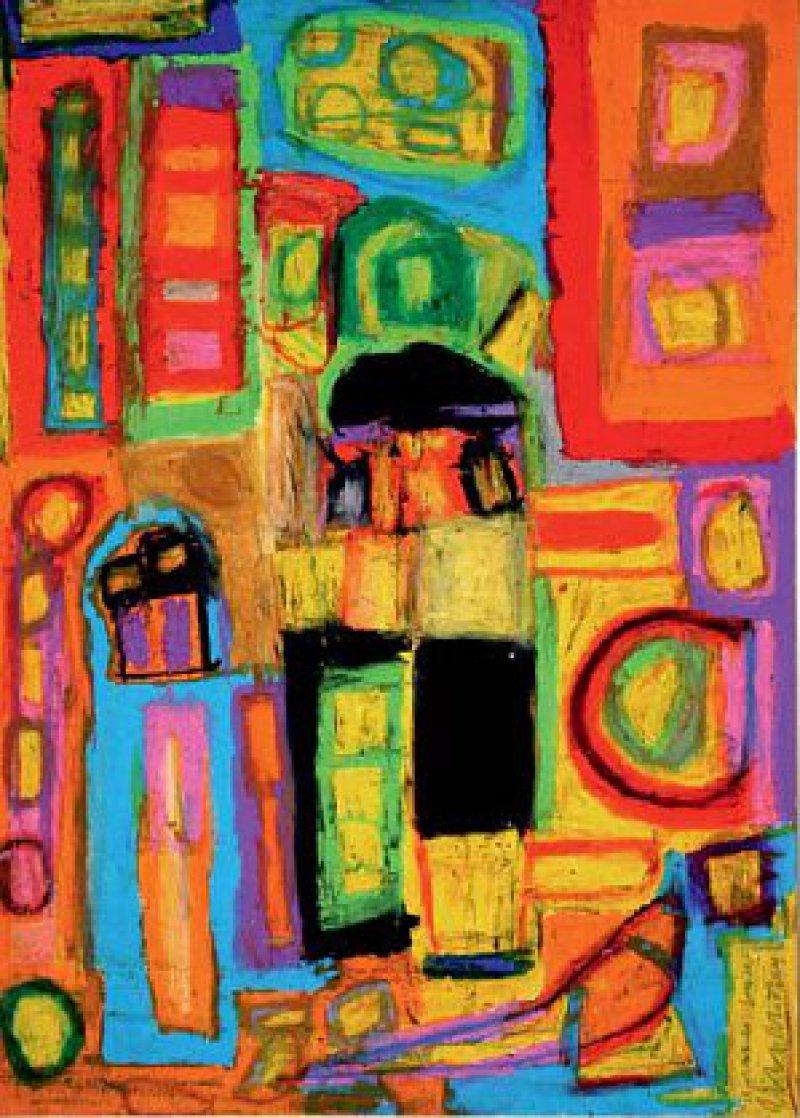 Leuchtende Farben – aus mehreren Schichten von Ölkreide und Aquarellfarbe sind typisch für Bergenthals Werke. Foto: Eberhard Hahne