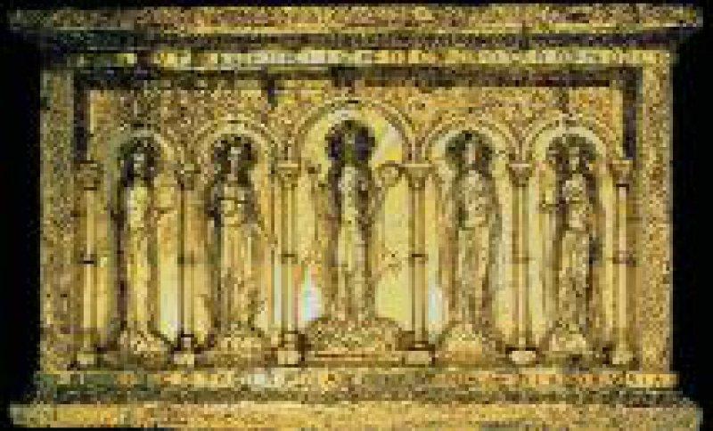 Basler Antependium (um 1019) – Heinrich und Kunigunde knien zu Füßen Christi, eine Geste der Demut.