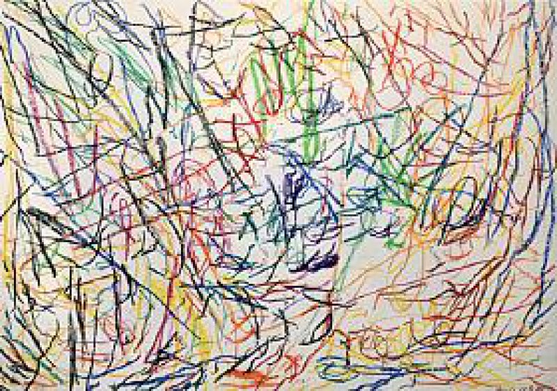 """""""ohne Titel"""", Buntstifte auf Papier, 43 cm × 61 cm, 1983 Foto: Eberhard Hahne"""