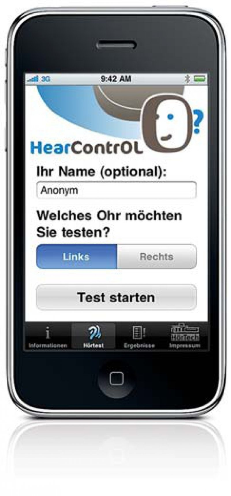 Start des Hörtests auf dem iPhone. Foto: HörTech gGmbH
