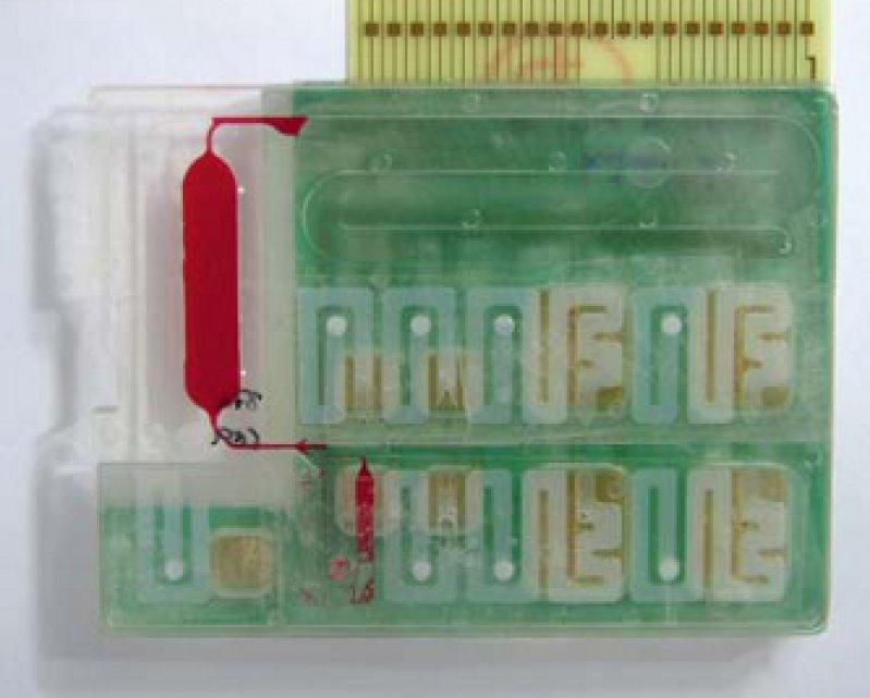 Im Minilabor lassen sich unterschiedliche Bio analysen automatisiert durchführen (Ansicht von oben). Foto: Fraunhofer-IBMT