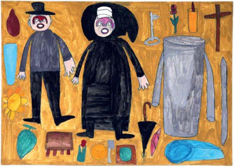 """Alltagsgegenstände gruppieren sich in klarer und farbiger Bildsprache um die allgegenwärtige Nonne und """"Onkel Benno"""". Foto: Eberhard Hahne"""
