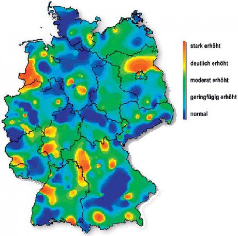 Akute respiratorische Erkrankungen (ARE) in der fünften Kalenderwoche 2011. Die aktuelle ARE-Aktivität in Deutschland ist unter www. influenza.rki.de abrufbar. Quelle: AG Influenza des RKI