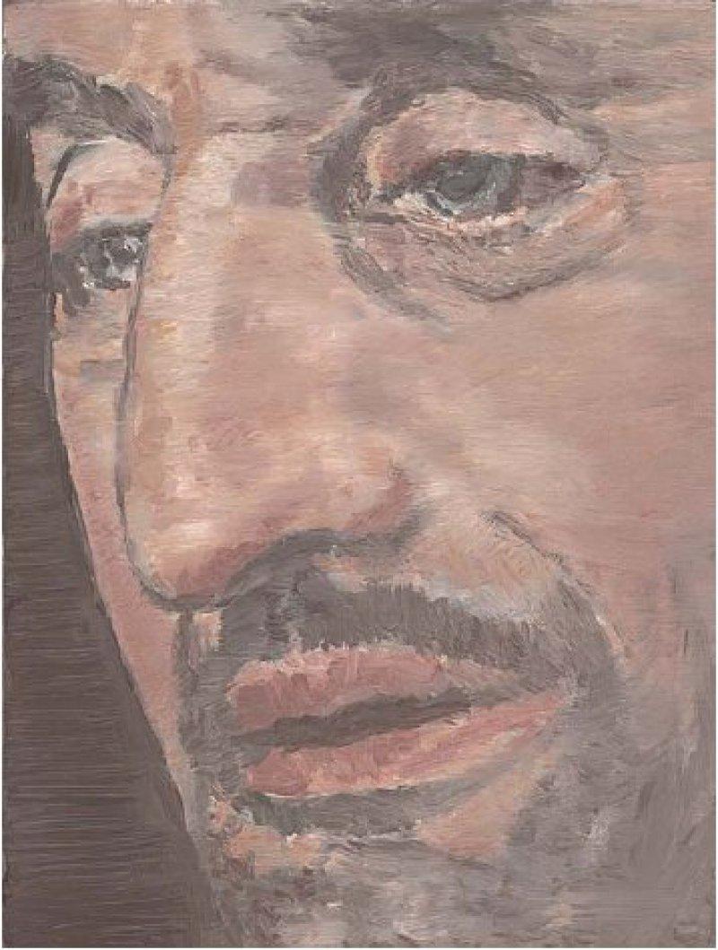 """Luc Tuymans, """"The Nose"""", 2002, Öl auf Leinwand (29,9 × 24,1 cm): Kühn ragt der mächtige Zinken, der dem Gemälde den Titel gab, aus dem Gesicht heraus. """"Ein Künstler projiziert immer die eigene physische Beschaffenheit auf sein Werk"""", sagt Luc Tuymans, der seit seiner Teilnahme an der Biennale 2001 in Venedig und der Documenta 11 im Jahr 2002 international zu den bedeutendsten Malern der Gegenwart gehört. Ob – angesichts gewisser Ähnlichkeiten – diese Übertragung eigener Körpermerkmale auf den Porträtierten auch für """"The Nose"""" gilt, lässt der Belgier bewusst offen. Tuymans malte das Bild kurz nach dem 11. September 2011 nach einem Foto. Es zeigt das angeschnittene Gesicht eines dunkelhäutigen Mannes, der aus Nahost, aber auch aus dem abendländischen Kulturkreis stammen könnte. """"Es könnte ein Terrorist sein, aber es ist keiner"""", erklärte der Künstler einmal. Die große, gekrümmte Nase beherrscht das gesamte Bild. Der Gesichtsausdruck wirkt in sich gekehrt, eher pessimistisch, auf jeden Fall nicht entzifferbar. Foto: Collection of Jill and Dennis Roach, © Luc Tuymans"""