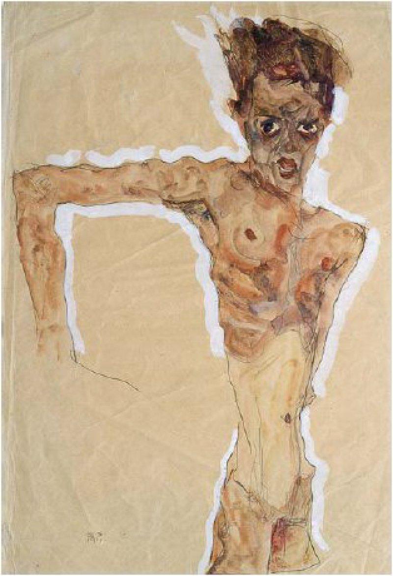 """Egon Schiele: """"Selbstporträt"""", 1911, Gouache, Aquarell und Bleistift, weiß gehöht auf Papier, 51,4 × 34,9 cm: Mit wildem Blick und weit aufgerissenem Mund, den nackten, knochigen Körper auf Überlänge gestreckt und von einer weißen Aura umgeben, bildete sich der junge österreichische Künstler 1911 ab. Schiele vermittelt einen Eindruck innerer Anspannung. Die Augen blicken ängstlich und drohend zugleich. Den rechten Arm hat er ungelenk abgespreizt, als wolle er etwas abwehren. Die fehlende Hand zwingt den Betrachter, die nicht gezeichneten Linien mit den Augen weiter zu verfolgen. Die Farbigkeit der Aquarellzeichnung beschränkt sich auf Beige- und Brauntöne, abgesehen von Mund, Augen und erotischen Zonen, die rötlich markiert sind. © The Metropolitan Museum of Art, New York"""