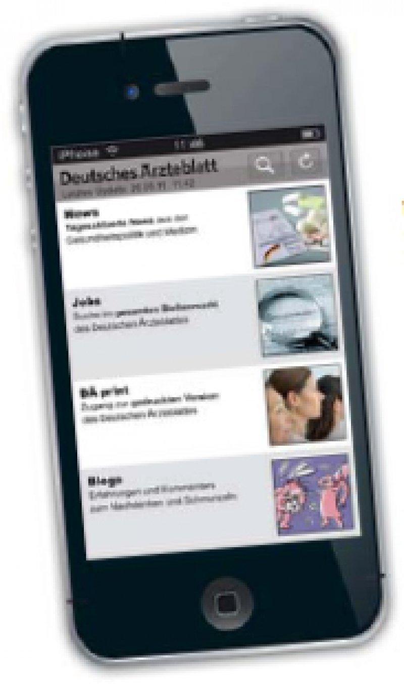 Die mobilen Angebote des Deutschen Ärzteblattes: app.aerzteblatt.de, m.aerzteblatt.de.