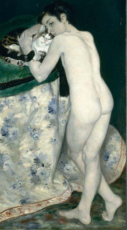 """Pierre-Auguste Renoir: """"Le garçon au chat"""" (""""Der Junge mit der Katze""""), 1868, Öl auf Leinwand, 123 × 66 cm: Den einzigen männlichen Akt im Frühwerk Renoirs könnte man auf den ersten Blick auch für ein Mädchen halten. So androgyn wirkt der nackte Körper des Jünglings, so feinsinnig und verträumt sein Gesicht, das er zärtlich an eine Katze schmiegt. Der schwarze Hintergrund und die kalte Farbpalette verweisen auf den künstlerischen Einfluss Manets, dem der junge Renoir nacheiferte. RMN (Musée d'Orsay) / René-Gabriel Ojéda"""