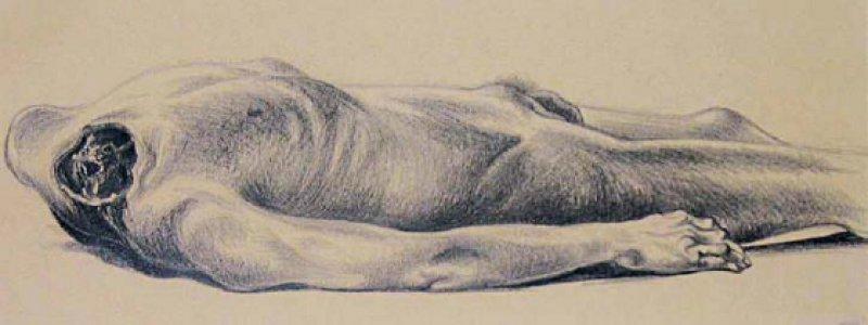 """Zeichnung eines Hingerichteten (""""Der namenlose Justifizierte vom Wiener Landesgericht, 1943""""), die Leopold Metzenbauer (1910–1993) anfertigte, als er zu Kriegszeiten am anatomischen Institut der Universität Wien arbeitete. Graphit auf Papier, 22,5 × 41,8 cm. Bildnachweis: Sammlung der Kulturabteilung der Stadt Wien – MUSA; Inv.Nr. 7116,"""