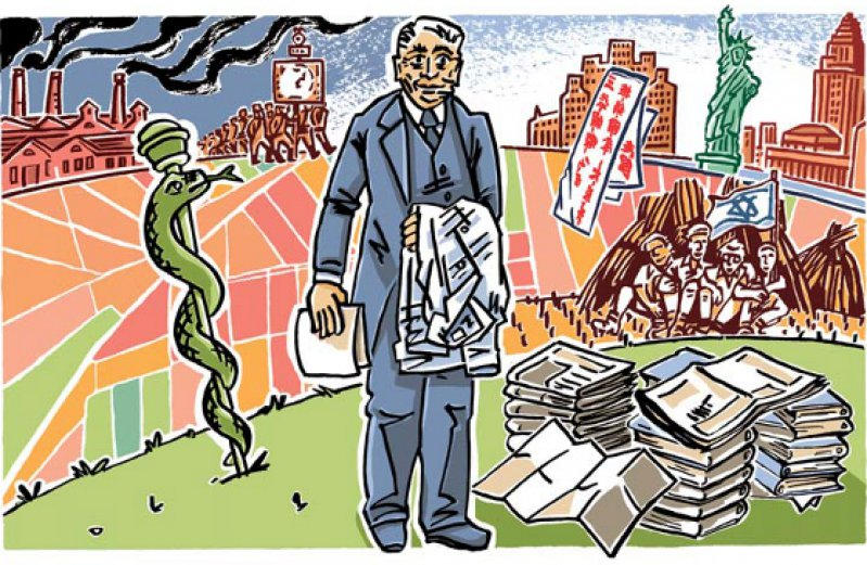 Der liberale Sozialismus, wie ihn Franz Oppenheimer verstand, wendet sich sowohl gegen den Kapitalismus als auch den Kommunismus. Seine Utopie eines Gemeineigentums an Grund und Boden wollte er in Palästina verwirklichen. Illustration: Elke R. Steiner