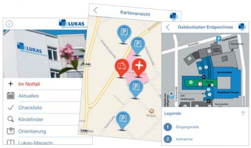 Die klare Struktur der App, eine Navigationshilfe und Gebäudepläne erleichtern es den Nutzern, sich im Krankenhaus zurechtzufinden.