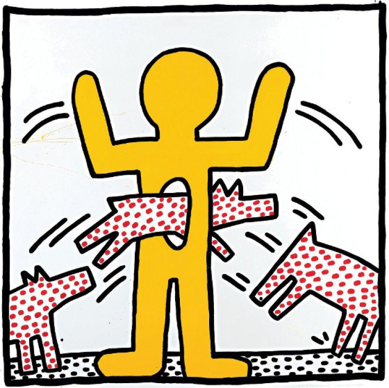 """Keith Haring: """"Ohne Titel (Gelbe Figur)"""", 1982, Einbrennlack auf Metall, 109,2 × 109,2 cm: Durch die ovale Öffnung im Bauch einer gesichtslosen Figur mit erhobenen Armen springen Hunde wie Zirkustiere durch einen Dompteurring. Keith Haring entwickelte schon früh seine typische Symbolsprache: den Hund, hier als Zeichen des Angriffs und der Rebellion, und das große Loch im menschlichen Körper als Ausdruck von Bedrohung und Verletzung. Foto: Sammlung Larry Warsh ©The Keith Haring Foundation"""