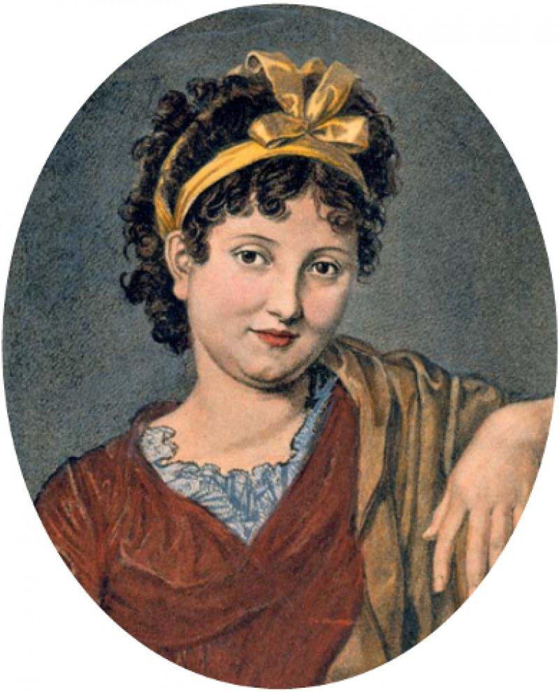 Weibliches Bildnis, als Bildnis der Christiane Vulpius gedeutet. Kreidezeichnung, 1800, von Friedrich Bury (1763–1823), spätere Kolorierung
