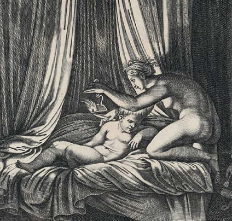 Meister mit dem Würfel, Psyche entdeckt die wahre Identität ihres Liebhabers, um 1532, Kupferstich (Wallraf-Richartz-Museum & Fondation Corboud)