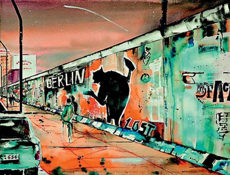 Sabine Schindler-Marlow, Im Schatten der Mauer, Aquarell/Acryl auf Bütten. Foto: Sabine Schindler-Marlow