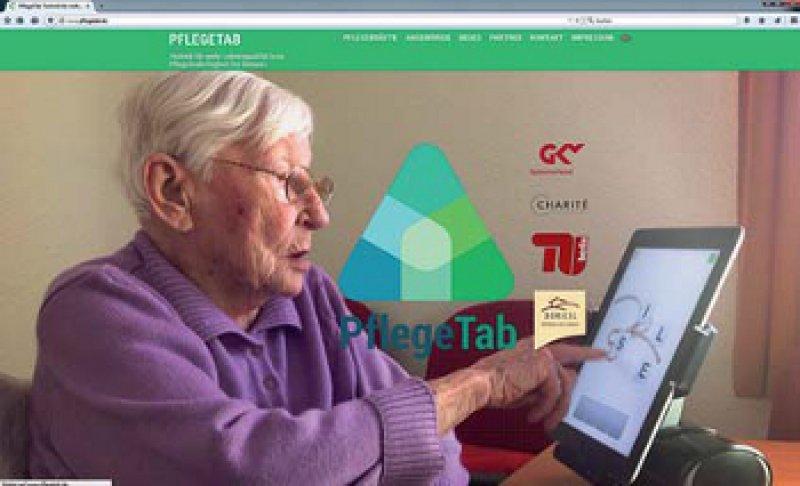 Aktivierungsangebote für Pflegeheimbewohner mit Demenz sollen digital per Tablet verfügbar werden. Foto: https://www.pflegetab.de