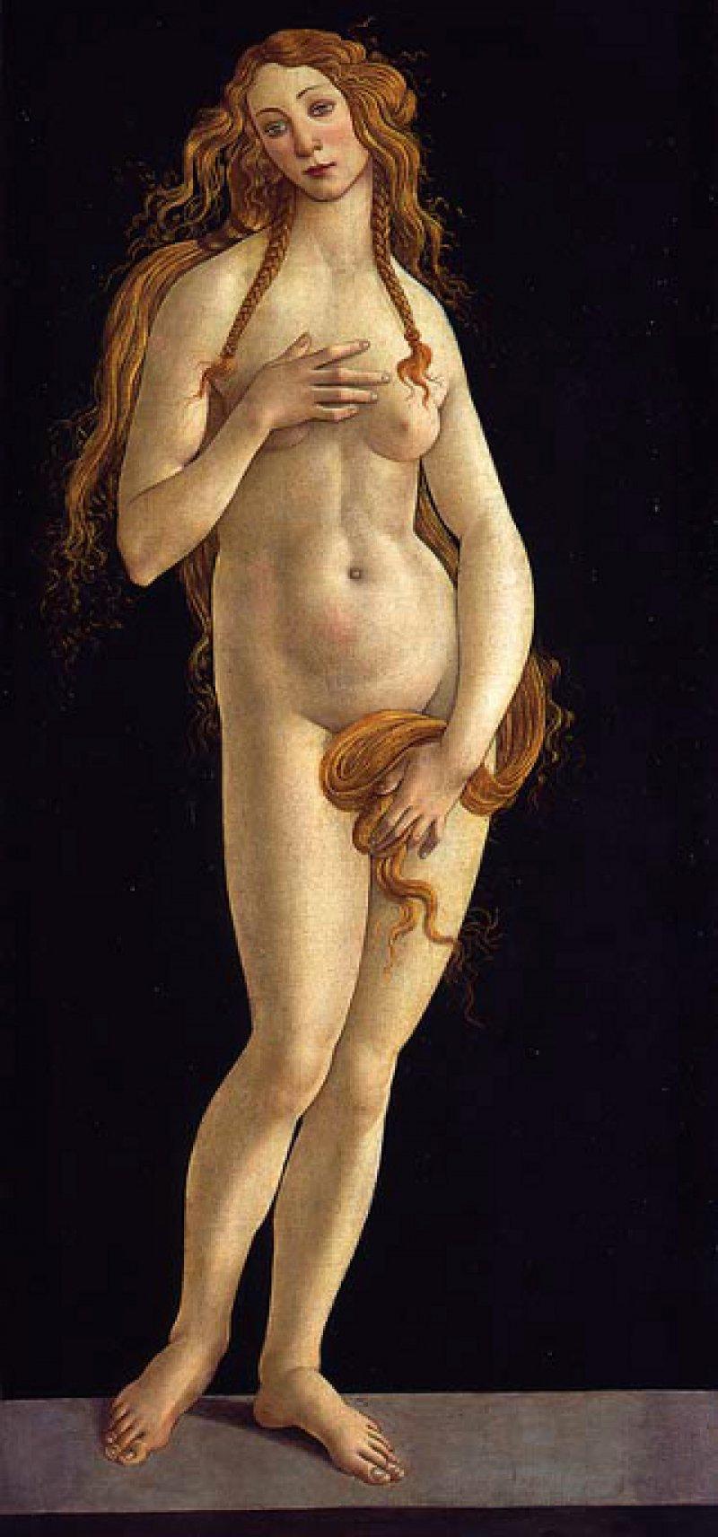 """Sandro Botticelli: """"Venus"""", 1490, Öl/Tempera auf Leinwand, 158,1 × 68,5 cm: Eine nackte junge Frau präsentiert sich fast in Lebensgröße frontal dem Betrachter. Mit ihrer rechten Hand bedeckt sie eine Brust. Ihre andere Hand, die in einen Strang ihres langen, gewellten Haars greift, verbirgt ihre Scham. Der dunkle Bildhintergrund lässt ihr träumerisch in sich gekehrtes Gesicht und ihren alabasterfarbenen Körper skulptural hervortreten. Mit der Liebesgöttin schuf Botticelli Ende des 15. Jahrhunderts den ersten lebensgroßen Akt in der Malerei. Foto: Staatliche Museen zu Berlin/Jörg P. Anders"""