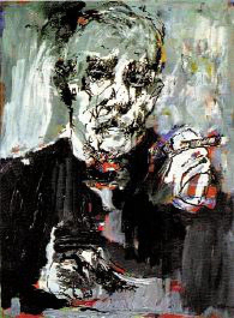 """Armin Mueller-Stahl """"Selbst als Thomas Mann"""", Lithographie, 70,5 × 53 cm, Auflage 200 Exemplare, nummeriert und handsigniert, ungerahmt 1 290 DM, gerahmt 1 750 DM"""