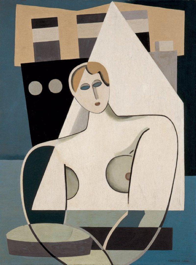Marcelle Cahn, Frau und Segel, circa 1926–27, Öl auf Leinwand, 66 × 50 cm, Musée d'Art Moderne et Contemporain de Strasbourg (MAMCS). Foto: Musées de Strasbourg, A. Plisson