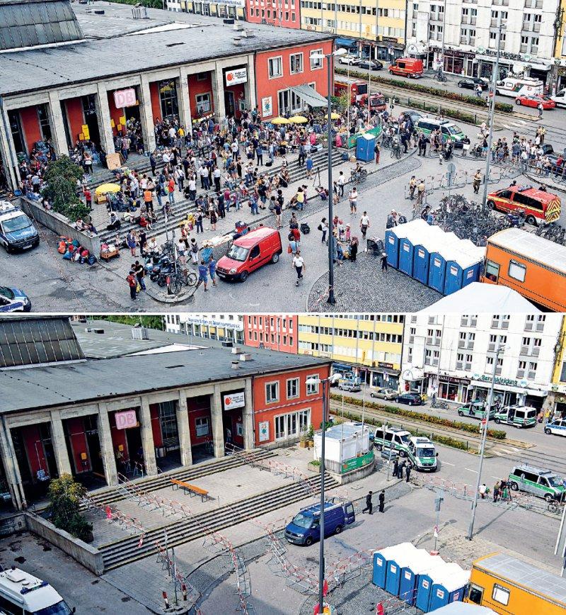 Ein Bahnhof, zwei Perspektiven: Während am 1. September viele Flüchtlinge am Münchner Hauptbahnhof Hilfe suchten, war es 15 Tage später dort wieder menschenleer. Foto: dpa