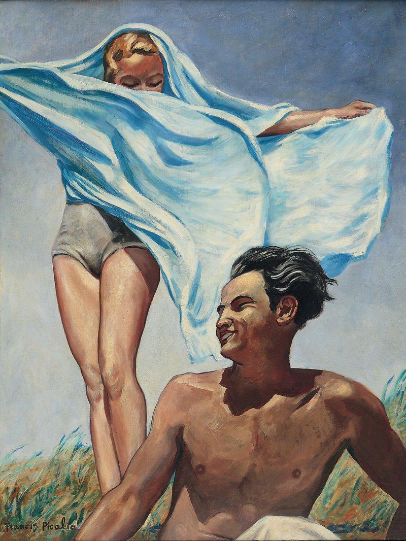 """Francis Picabia: """"Printemps"""", um 1942–1943, Öl auf Leinwand, 115 × 90 cm: Zwei braun gebrannte, kaum bekleidete Menschen posieren vor dem blauen Hintergrund des Himmels. Die Bildfläche scheint zu klein für die artifiziell beleuchteten, skulpturalen Körper des Mannes und der Frau, zu denen der Betrachter aus der Untersicht empor. schaut. Picabia malte das bizarr anmutende Gemälde, das mit der von den Nationalsozialisten propagierten Ästhetik spielt, während des Zweiten Weltkriegs im südfranzösischen Exil. Foto: Courtesy Michael Werner Gallery, New York, London, und Märkisch Wilmersdorf; © 2016 ProLitteris, Zürich"""