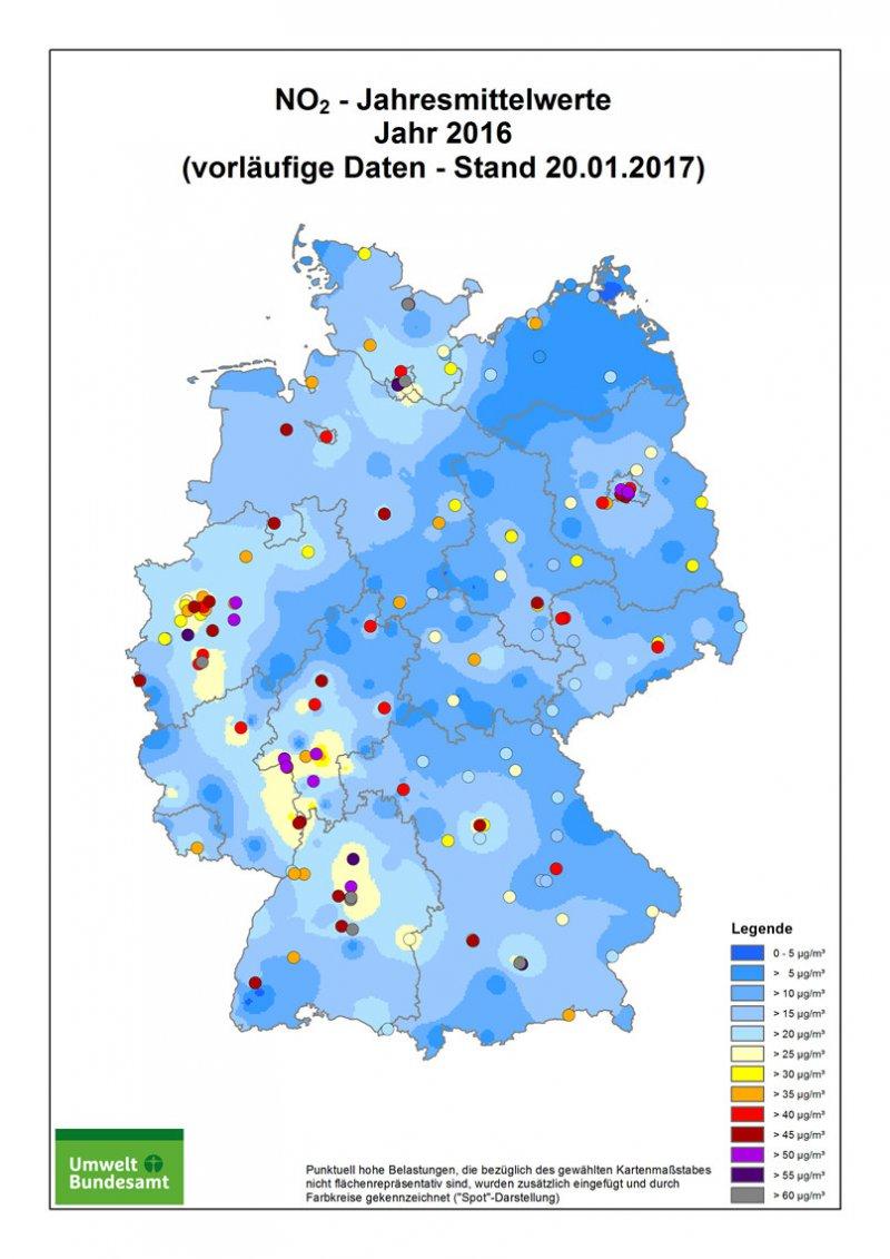 Umwelt Bundesamt Landkarte Stickstoffdioxid 2016