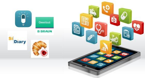 Die ersten vier Geusndheits-Apps erhielten ein Zertifikat der Ag DiaDiagital: Omnitest Diabetes Tagebuch, SiDiary, MyTherapy und der BE Rechner Pro (Logos links). /arrow adobe.stock.com