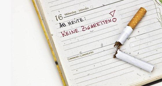 Terminkalender mit zerbrochener Zigarette /dpa